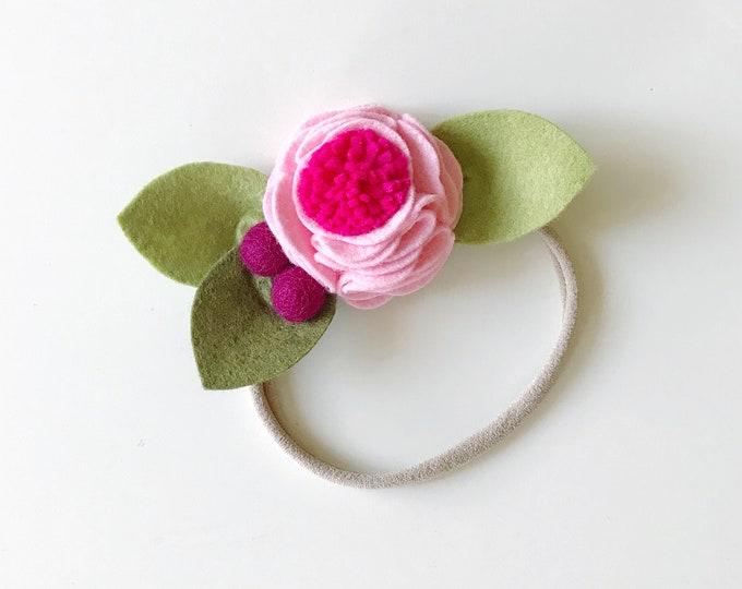 Felt Flower Headband or Alligator Clip //  Passion Fruit Pink, Giddyupandgrow