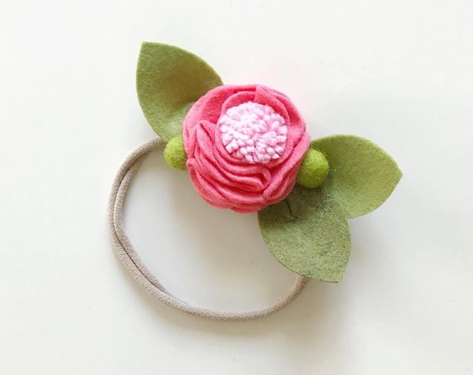 Felt Flower Headband or Alligator Clip //  Watermelon Pink, Giddyupandgrow