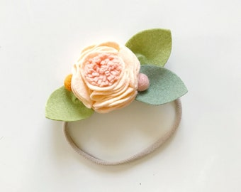 Felt Flower Headband or Alligator Clip //  Georgia Peach, Giddyupandgrow