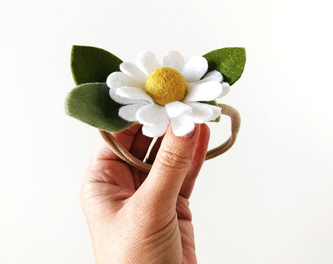 Single Flower Headband or Alligator Clip // Chamomile, Fall Felt Flower