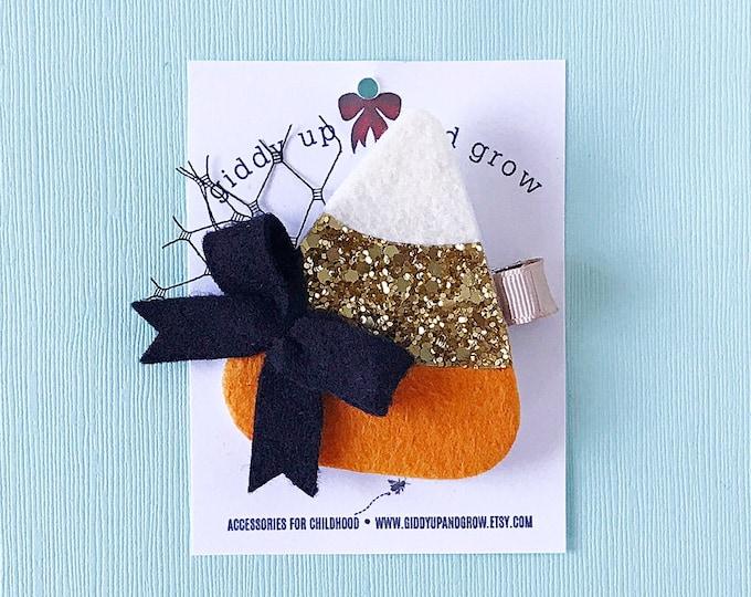 Halloween Candy Corn Hair Bows, Glitter Clips for Fall, giddyupandgrow