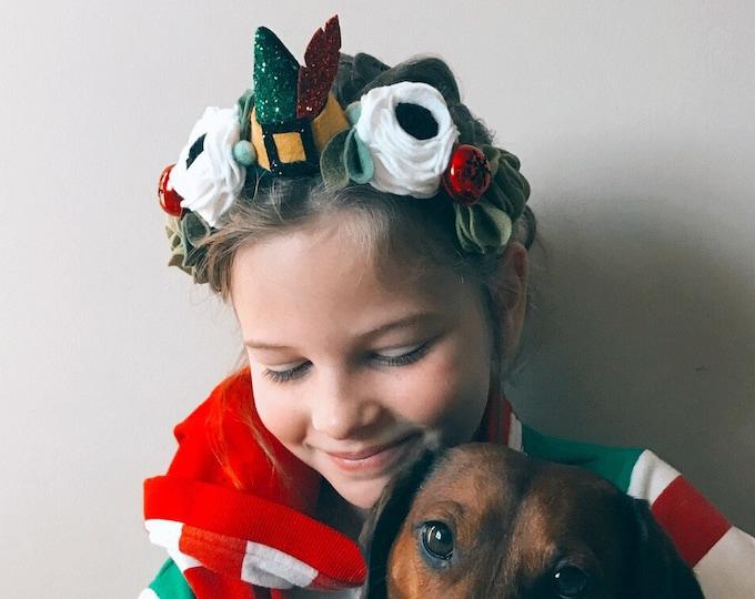 Elf Christmas Crown, Felt Flower Headband, Giddyupandgrow