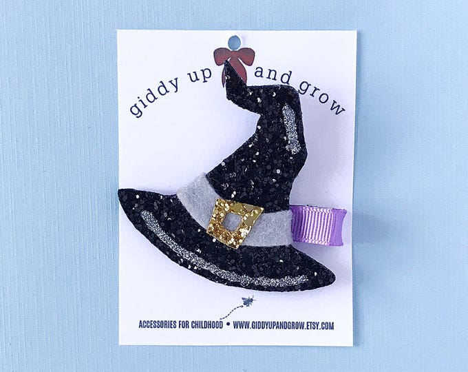 Halloween Witch Hat Hair Bows, Glitter Clips for Fall, giddyupandgrow