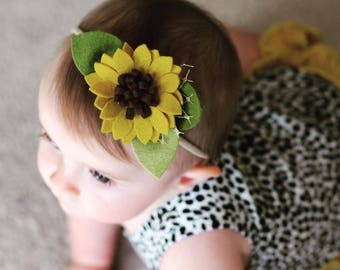 Felt Flower Headband or Alligator Clip // Sunflower Baby Accessories, giddyupandgrow