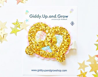 Felt Hair Clip Baby Bow Glitter Pretzel giddyupandgrow