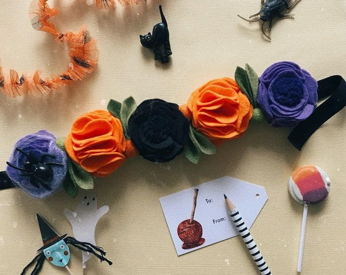 Halloween Pixie Crown, Fall Felt Flower Headband, Giddyupandgrow
