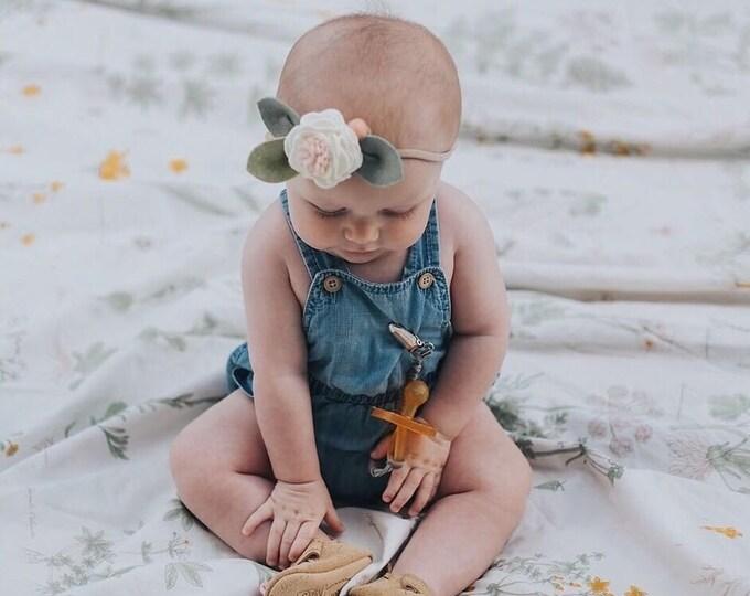 Felt Flower Headband Sweet Pea Pink, Baby Accessories, giddyupandgrow