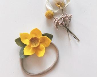 Felt Flower Headband or Alligator Clip //  Yellow Daffodil, Giddyupandgrow