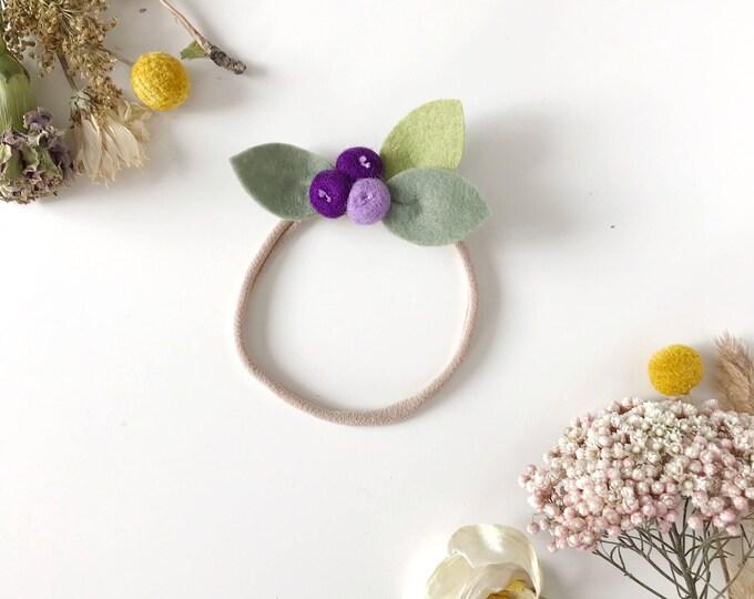 Newborn Flower Headband, Felt Flowers, Fig Rose Buds, giddyupandgrow