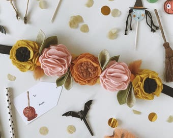 Pumpkin Spice Fall Felt Flower Crown, Giddyupandgrow