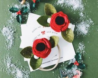 Red Christmas Felt Flower Headband giddyupandgrow