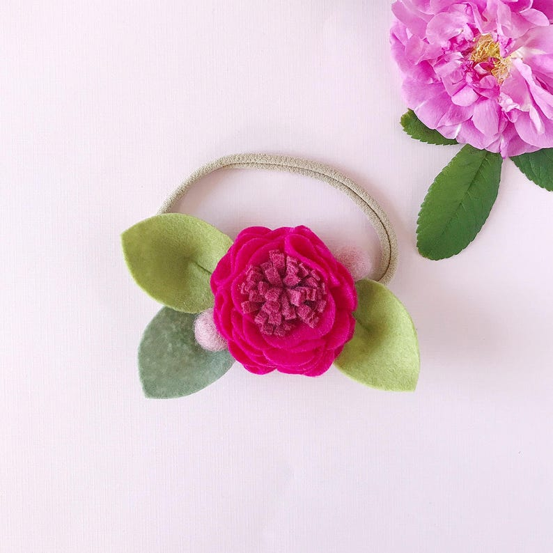 Single flower headband or alligator clip flower clip Blue Single Felt Flower,Baby felt Headband hair clip,