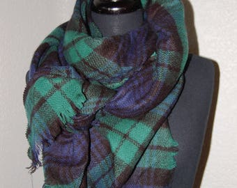 Scripture Scarf - Triangle Shape - Green, navy, and black plaid