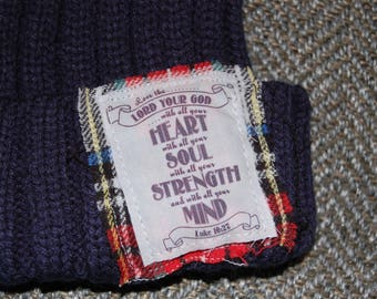 Faux Fur PomPom Beanie with Scripture Patch - Navy
