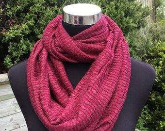Merino infinity scarf, purple neck warmer, magenta grey merino cowl, magenta wool scarf, travel scarf, merino loop scarf