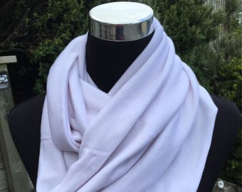 White merino infinity scarf, white wool neck warmer, white merino cowl, white wool scarf, travel scarf, merino loop scarf