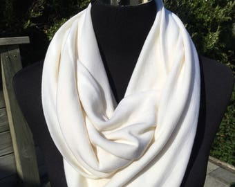 Cream merino infinity scarf, cream wool neck warmer, cream merino cowl, cream wool scarf, travel scarf, merino loop scarf