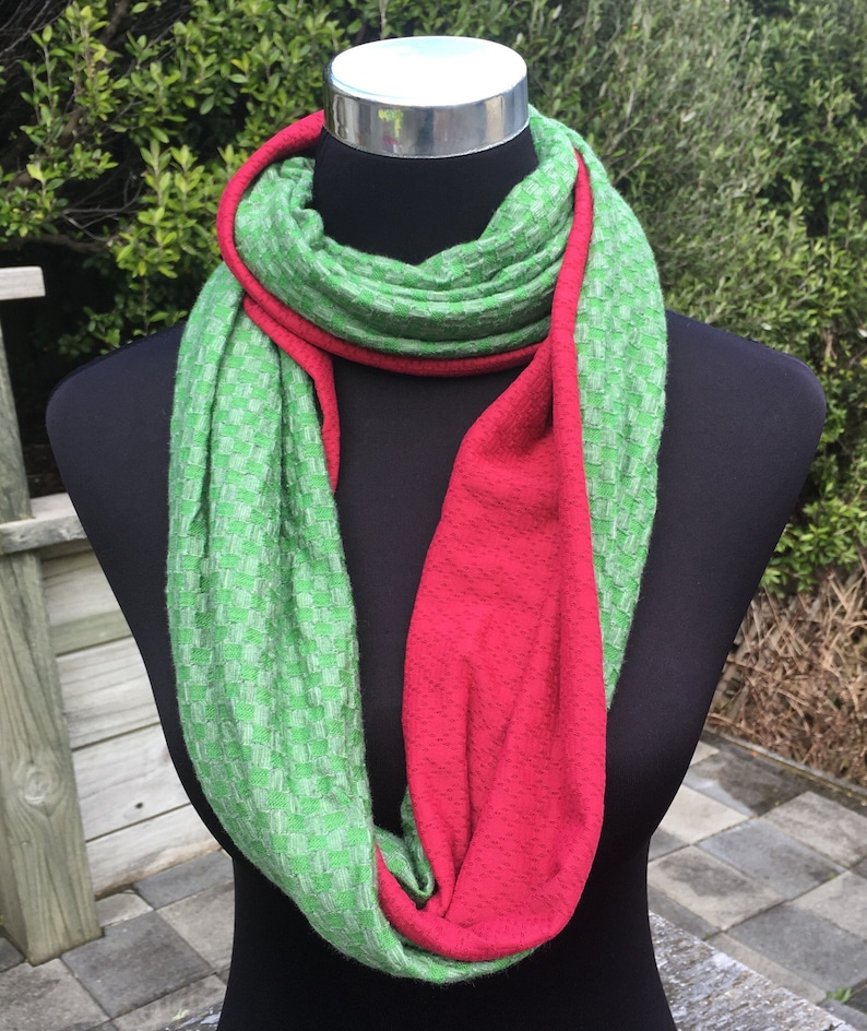 696ef521a8f4d Green and pink merino wool infinity scarf   Etsy