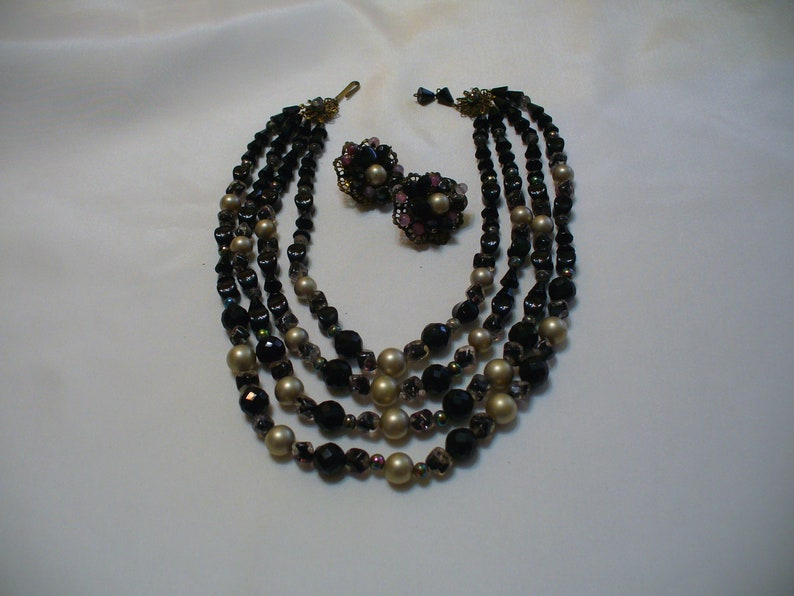 Costume Jewelry Glass Beads and Pearls Clips ETSY SHOP- Vintage Jewelry Necklace /& CLIP earrings set 1950/'s Costume Jewelry Set