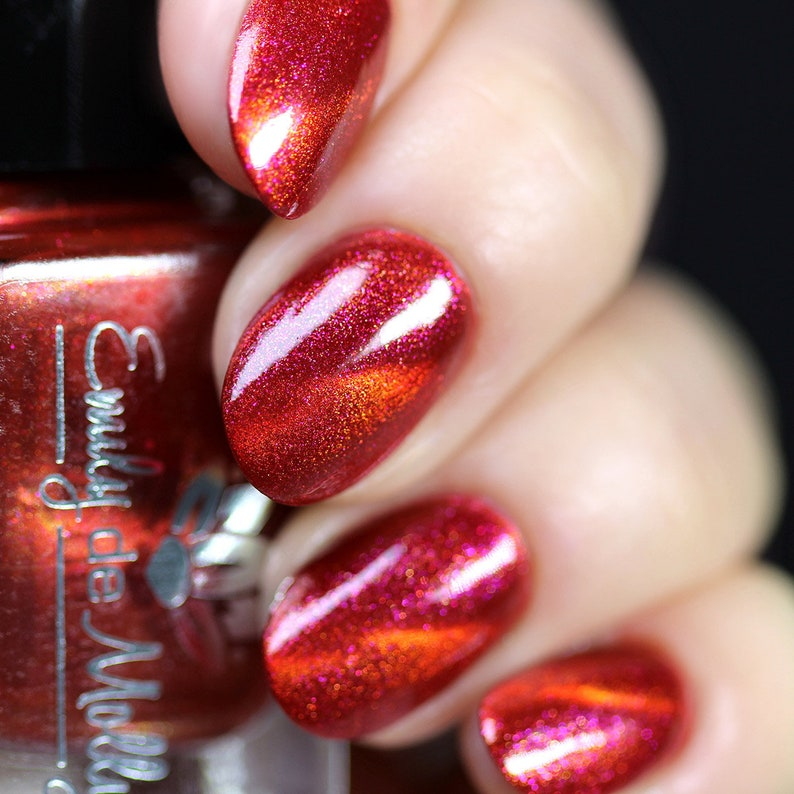 "<Span Data Inner Title="""">Nail Polish   ""Heated Discussions"" A Dark Red Base With Gold And Pink Shimmers And An Orange/Red Magnetic Effect.</Span> by Etsy"