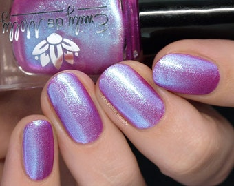 """Nail polish - """"Undertones"""" A bright red based purple with blue to purple shifting foil shimmer."""