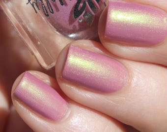 """Nail polish - """"Timeless Feelings""""  A dusty pink with green to pink shifting shimmer."""