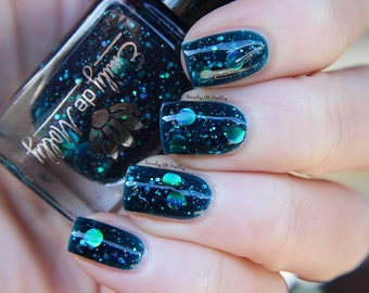 """Nail polish - """"Oceanic Forces"""" holographic dot glitter in a dark teal base"""