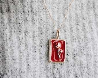 red rose necklace