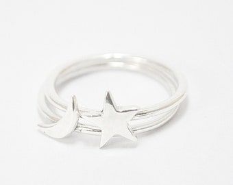 FREE SHIPPING-the little star and moon ring-sterling silver-made to orderFREE SHIPPING