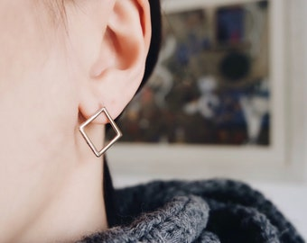 Square Earrings-rose gold plated- Free ShippingFREE SHIPPING