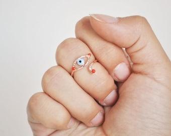 evil eye knuckle ring red enameledFREE SHIPPING