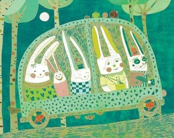 RABBIT JOURNEY art print // cute home decor // turquoise nursery illustration