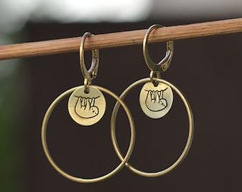 Round SLOTH earrings // raw brass hook earrings // hand stamped jewelry