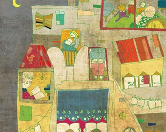 READING HOUSE art print // house illustration // books // yellow // cute nursery decoration
