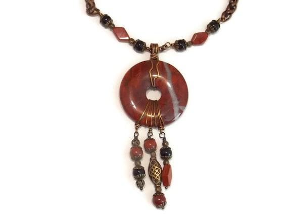 Stein Halskette Draht gewickelt Halskette Roter Jaspis
