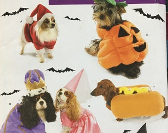 Simplicity Costume for Dogs Santa, Pumpkin, King, Queen, Hot Dog and Witch Small to Medium Dogs up to 31 lbs-Uncut Factory Folded Complete