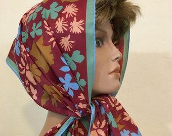 Vintage Vera Neumann All Silk Neck Head Scarf // Rust Brown, Green Peach Abstract Leaf Pattern 1960's Oblong Scarf Headband Japan