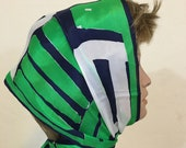 Vintage Vera Neumann All Silk Neck Head Scarf Blue Green and White Block Pattern 1960 39 s Oblong Scarf Headband