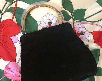 Vintage 1940's  INGBER Handbag Black Velvet with Lucite Handle// Dressy Top Handle Purse / Made in USA