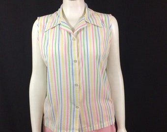 7596c11903c0e White Cotton Candy Striped Sleeveless Blouse 1960 s Rockabilly PInup Style  Ladies Medium