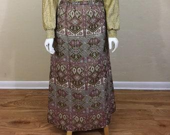 Vintage Brocade Long Maxi Skirt Floral Purple Gold Pink Hostess Skirt 1960's-70's  Waist 24 in. XS
