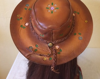 8a4ea7f5710 Vintage 1970 s Hand Tooled Brown Leather Hat with Embossed Painted Flowers Hippie  Boho Hat Festivals Mexico