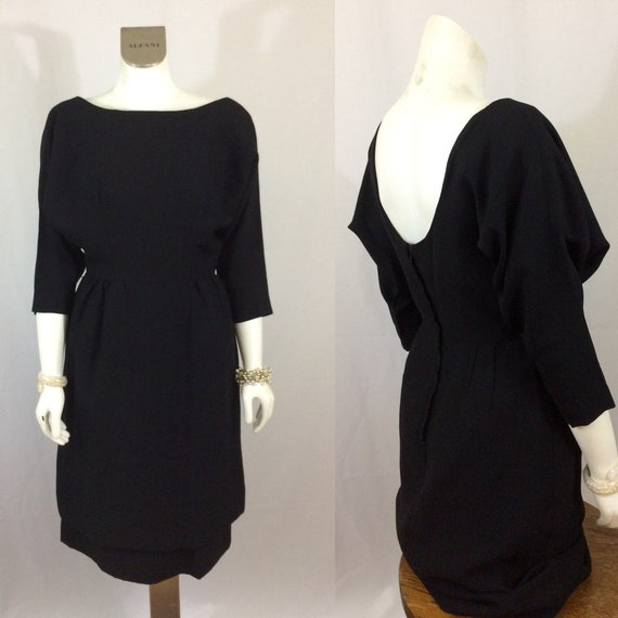 50's Cocktail Dress Black Low Cut Back Bat Wing Do
