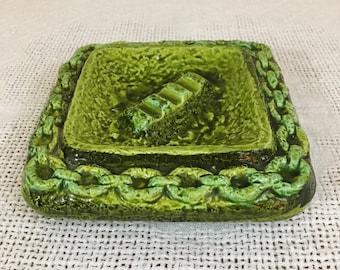 Mid Century Mod Ceramic Ashtray Acid Green Nautical Theme Brutalist Chain Trim