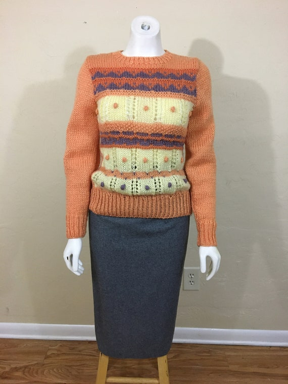Vintage 1970's Does 30's Pullover Sweater // Peach