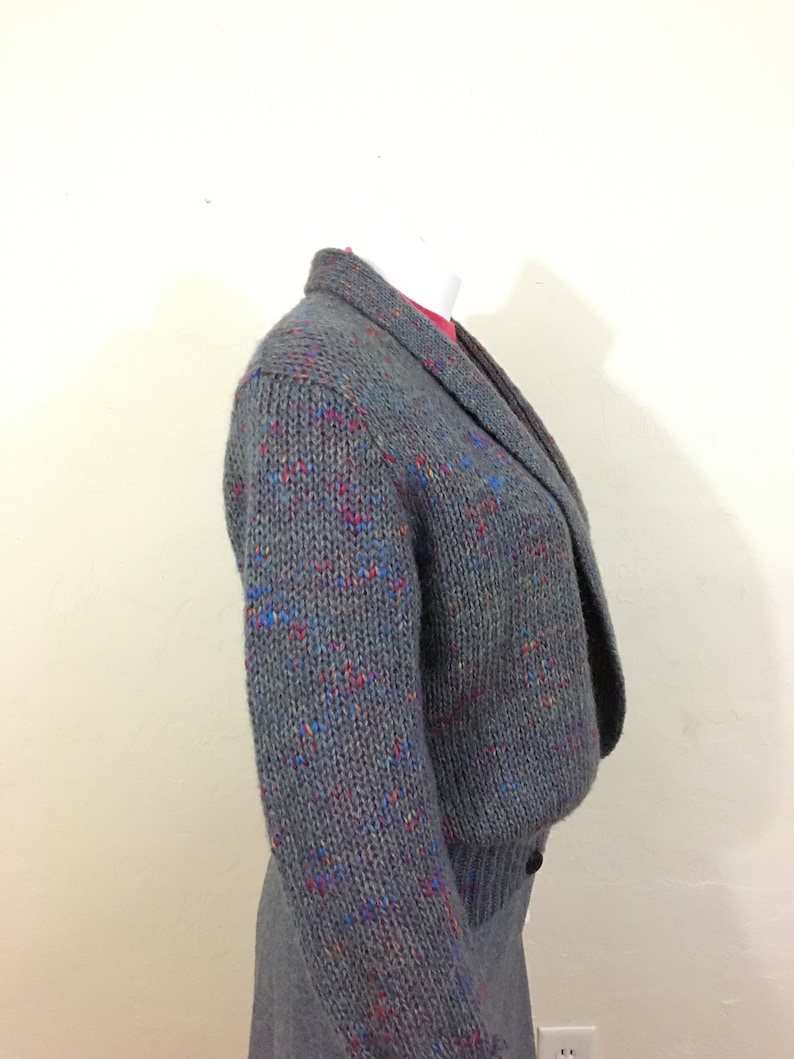 Blue and OrangeLadies Medium Vintage 1980/'s Sweater Jacket Menswear Slouchy Band Bottom Plunge Front Grey with Hot Pink