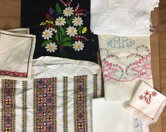 Lot of Vintage Linens Embroidery Lace Cutter Crafts Repurpose 7 Pieces