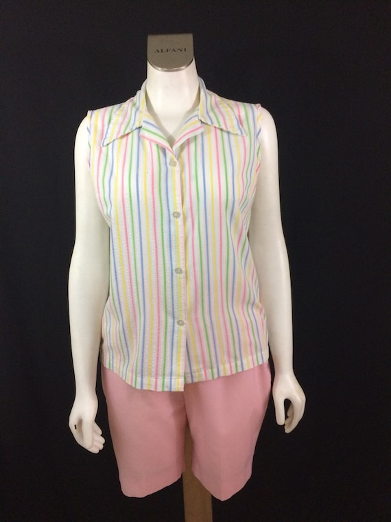 983131ddcb368 White Cotton Candy Striped Sleeveless Blouse 1960 s