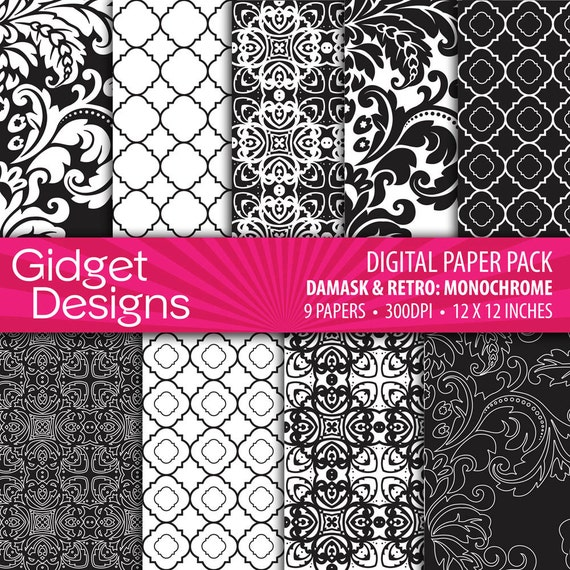 Modelli di carta digitale nera pack quatrefoil damascato - Modelli di ghirlanda stampabili ...