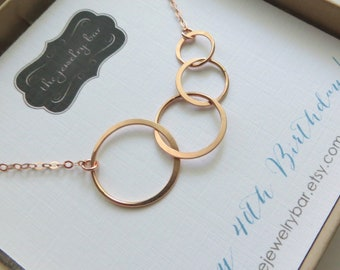 40th Birthday Gifts For Women Four Interlocking Circles Necklace Rose Gold Eternity Link Sister Bday Jewelry